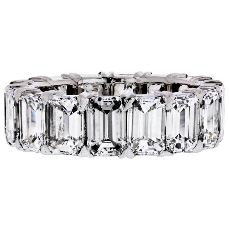 Platinum 6.50 Carat Emerald Cut Diamond Eternity Band