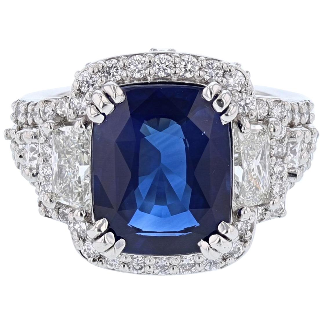 Platinum 6.58 Carat Sri Lankan Cornflower Blue Ceylon Sapphire and Diamond Ring