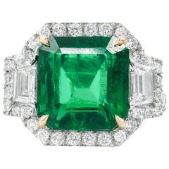 Platinum 6.67 Carat Green Emerald Diamond Ring