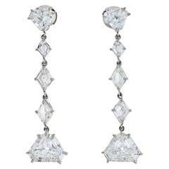 Platinum 7 Carat Fine Stone Dangling Diamond Earrings
