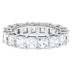 Platinum 7.65 Carat Asscher-Cut Diamond Eternity Band