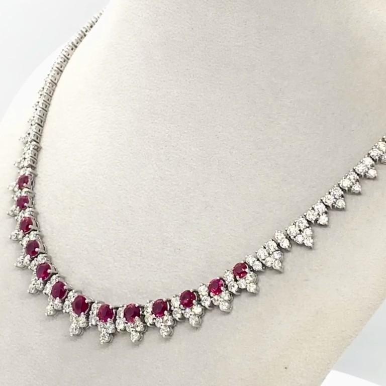 Elegant design 8.32 carat ruby with diamonds weighing 16.98 carat necklace.
