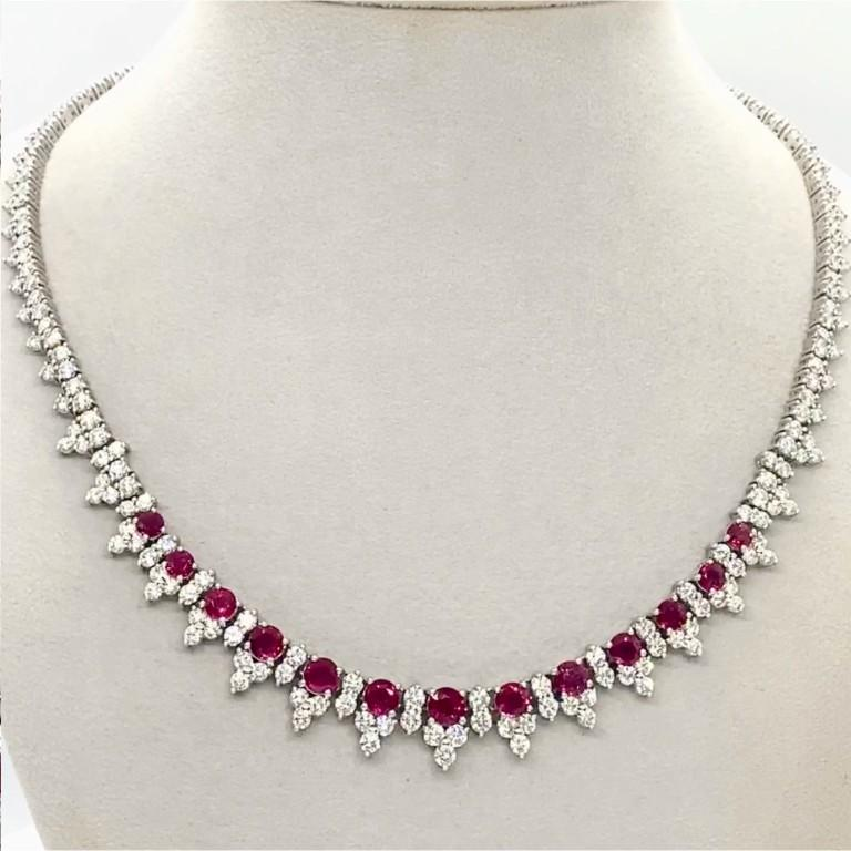 Round Cut Platinum 8.32 Carat Ruby Diamond Necklace For Sale