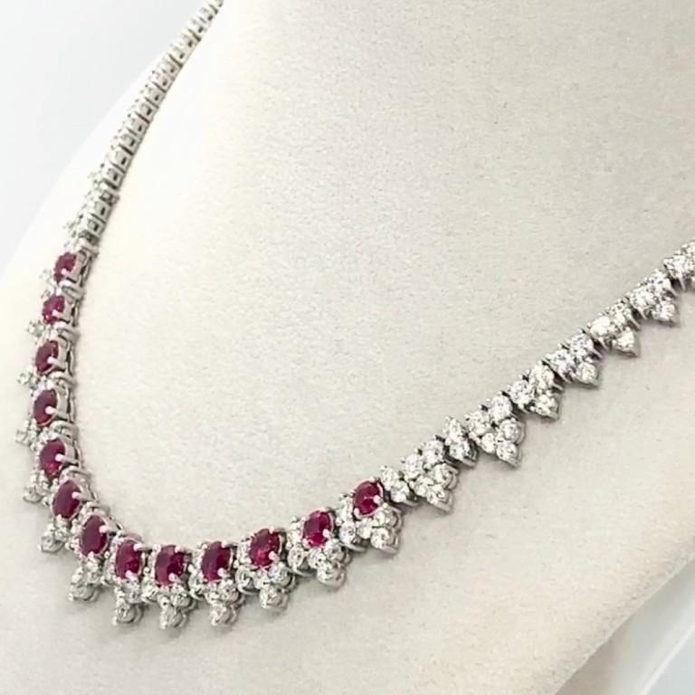 Platinum 8.32 Carat Ruby Diamond Necklace In New Condition For Sale In New York, NY