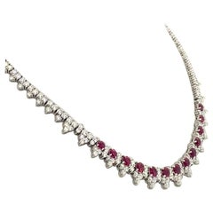 Platinum 8.32 Carat Ruby Diamond Necklace