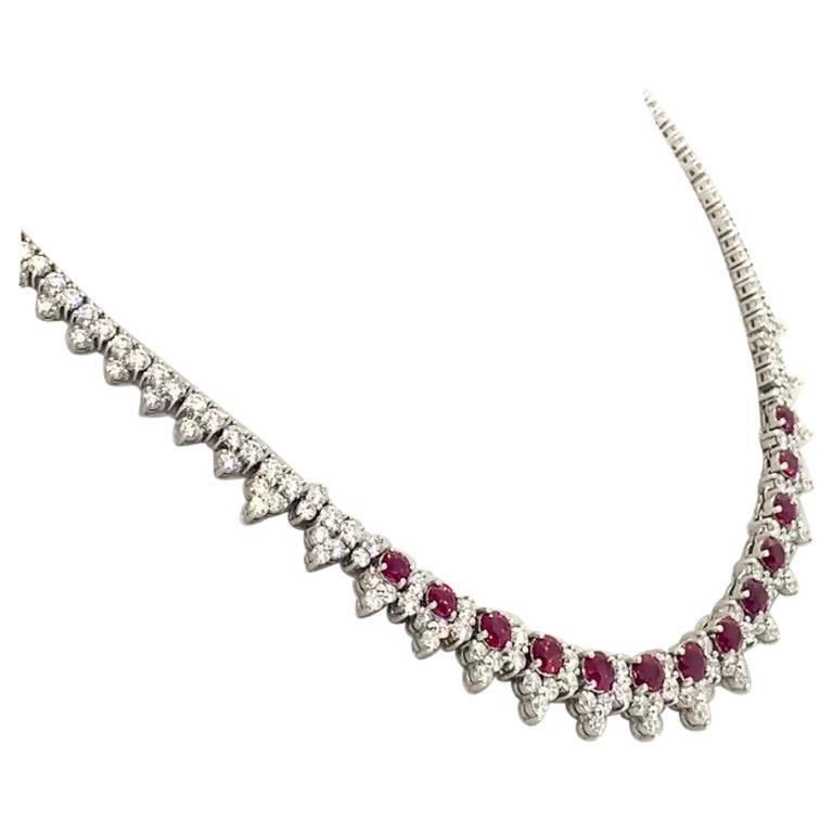Platinum 8.32 Carat Ruby Diamond Necklace For Sale