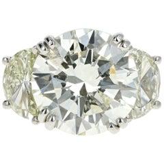 Platinum 8.4 Carat Diamond with Two Half Moon Diamond Ring