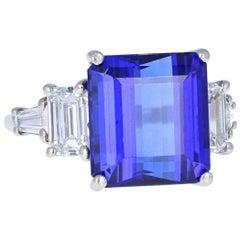 9 Carat Emerald-Cut Tanzanite Diamond Platinum Cocktail Ring