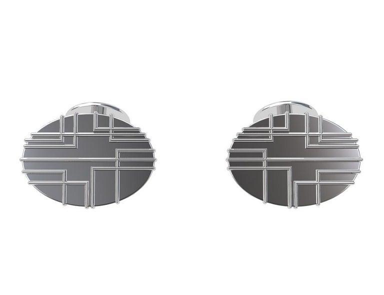Contemporary Platinum 90 Degree Art Lines Cufflinks For Sale