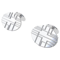 Platinum 90 Degree Art Lines Cufflinks