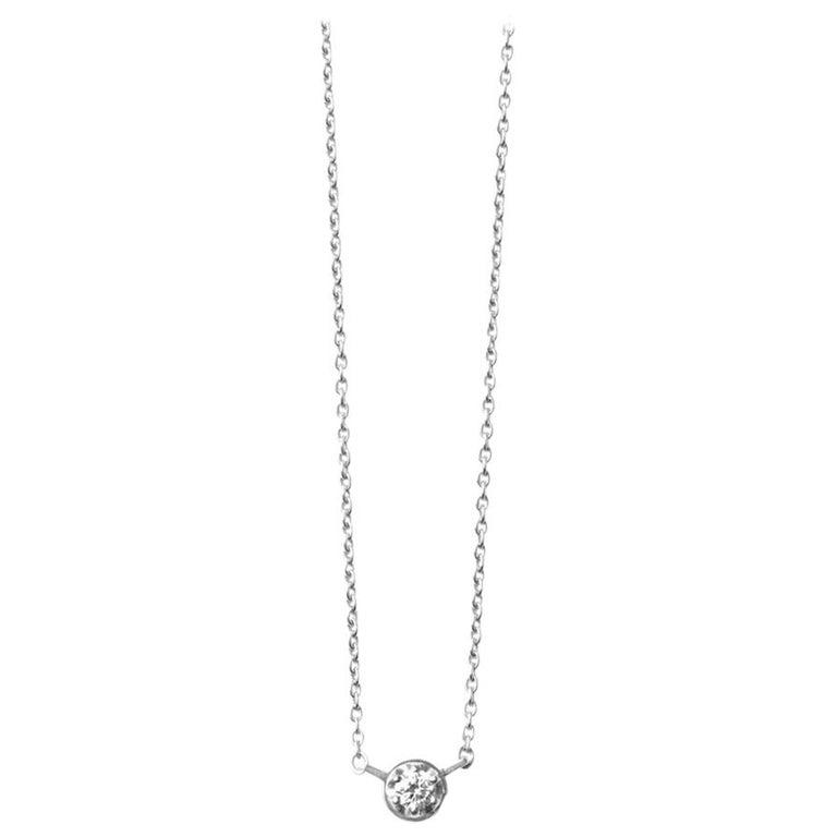 Platinum 900 0.1 Carat Diamond Necklace For Sale