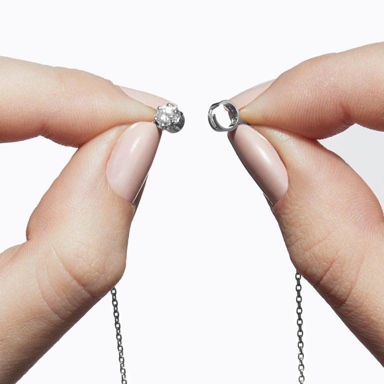 Round Cut Platinum 900 0.2 Carat Diamond Necklace For Sale