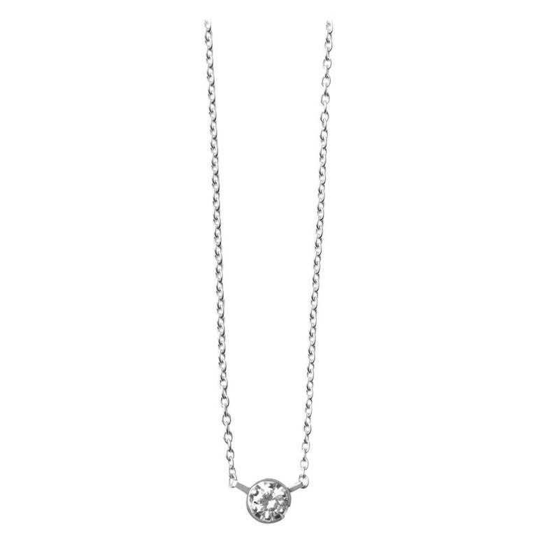 Platinum 900 0.2 Carat Diamond Necklace For Sale
