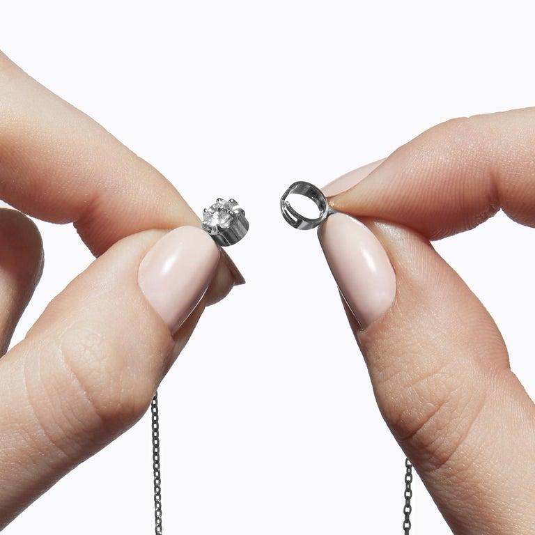 Round Cut Platinum 900 0.3 Carat Diamond Necklace For Sale