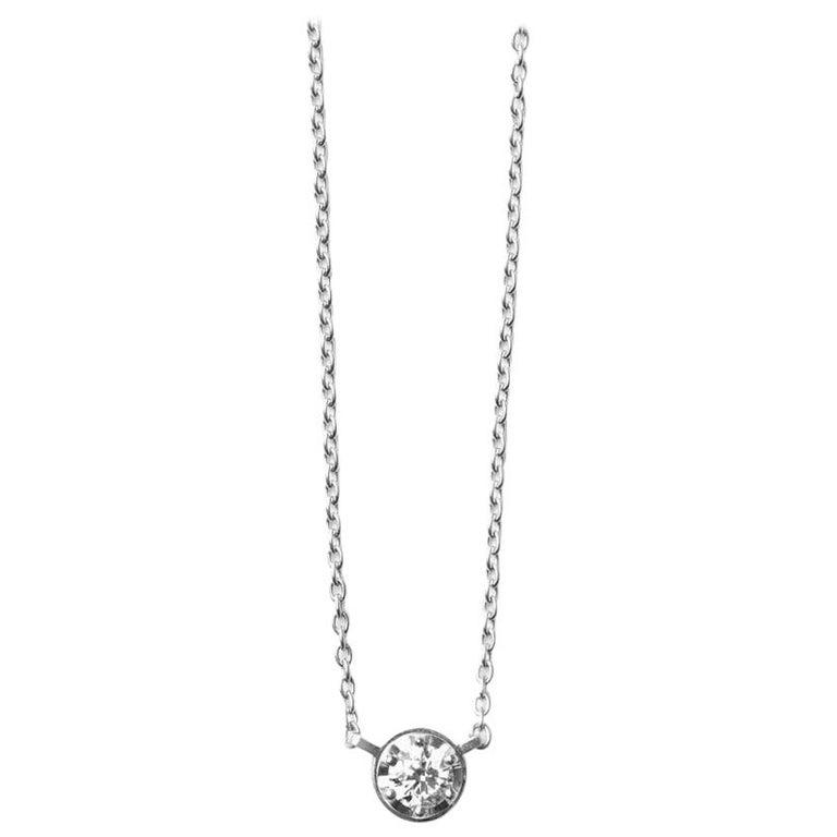 Platinum 900 0.3 Carat Diamond Necklace For Sale