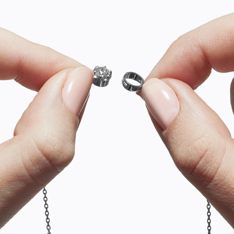 Round Cut Platinum 900 0.4 Carat Diamond Necklace For Sale