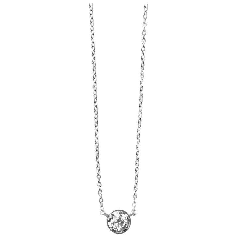 Platinum 900 0.4 Carat Diamond Necklace For Sale