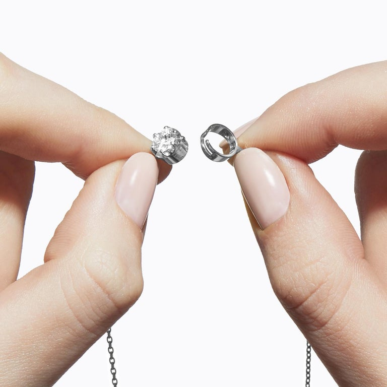 Round Cut Platinum 900 0.5 Carat Diamond Necklace For Sale