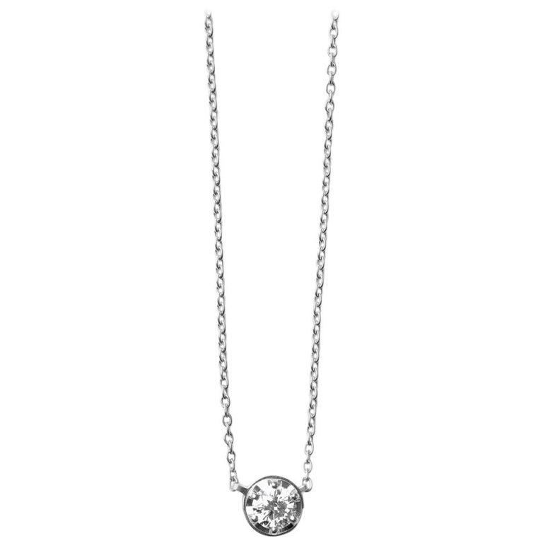 Platinum 900 0.5 Carat Diamond Necklace For Sale