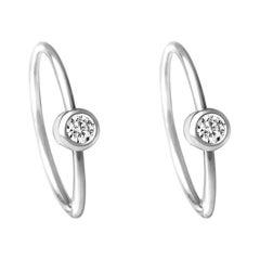 Platinum 900 Diamond 0.03 Carat Hoop Pair of Earrings
