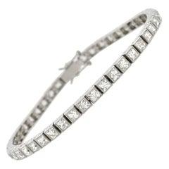 Platinum 9.00 Carat French Cut Diamond Line Bracelet