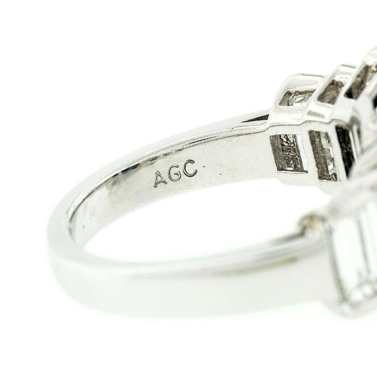 Platinum 9.07ctw GIA Emerald Cut No Heat Sapphire & Large Baguette Diamond Ring For Sale 5