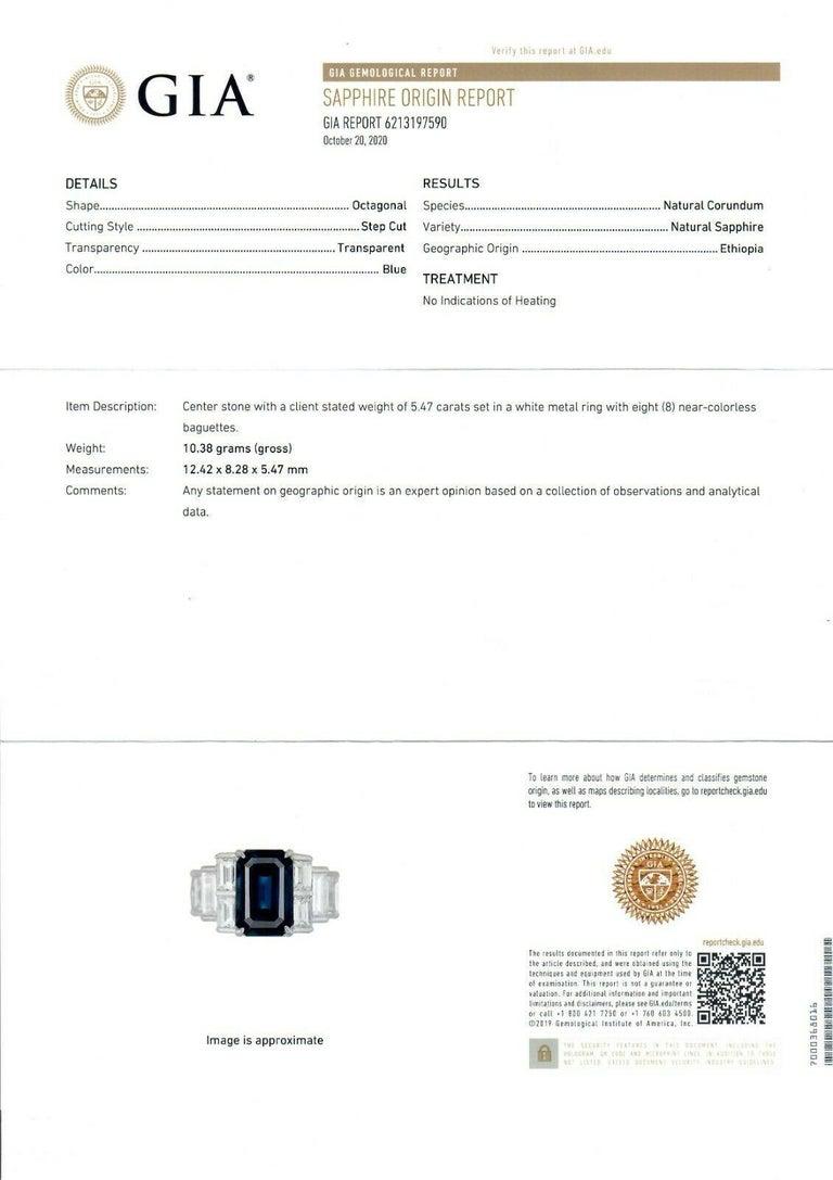 Platinum 9.07ctw GIA Emerald Cut No Heat Sapphire & Large Baguette Diamond Ring For Sale 7