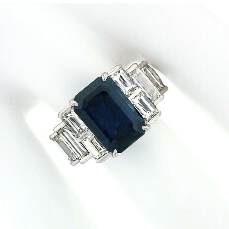 Art Deco Platinum 9.07ctw GIA Emerald Cut No Heat Sapphire & Large Baguette Diamond Ring For Sale