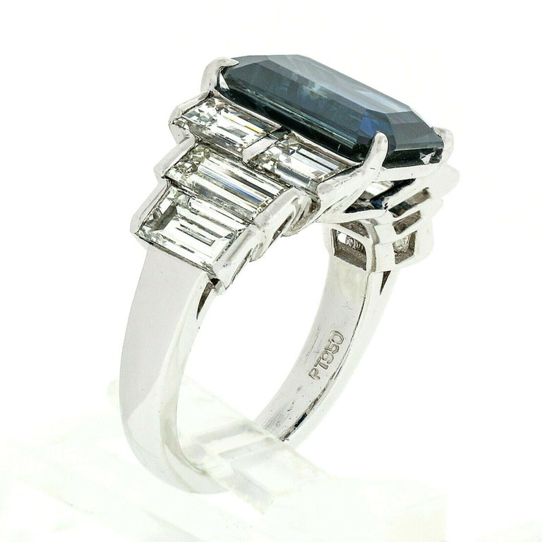 Platinum 9.07ctw GIA Emerald Cut No Heat Sapphire & Large Baguette Diamond Ring In Excellent Condition For Sale In Montclair, NJ