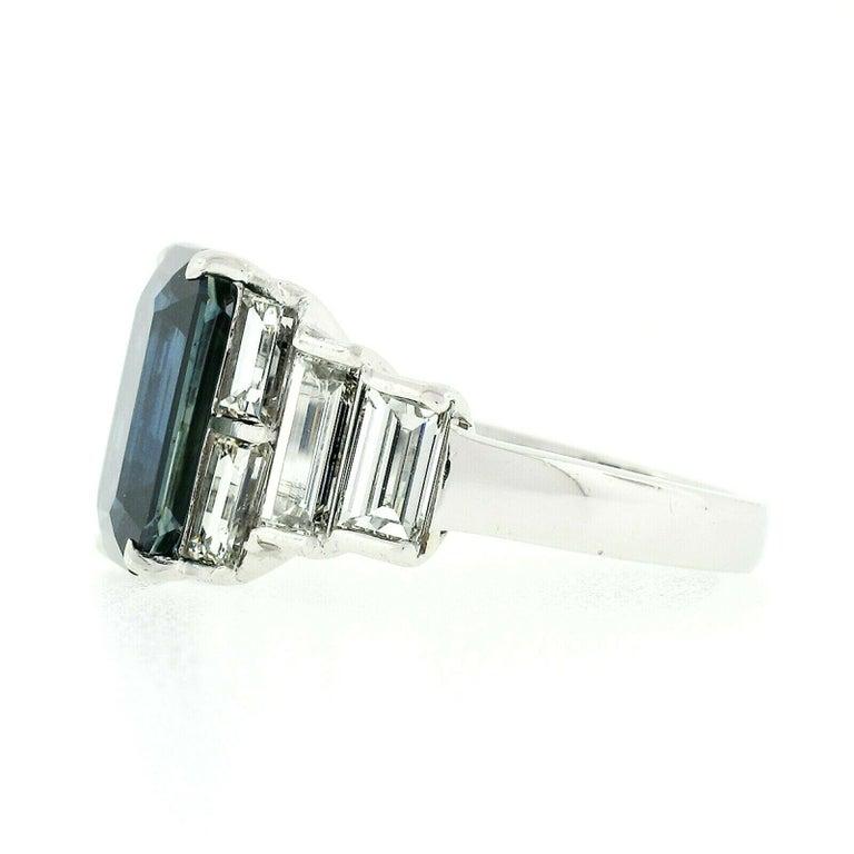 Platinum 9.07ctw GIA Emerald Cut No Heat Sapphire & Large Baguette Diamond Ring For Sale 1