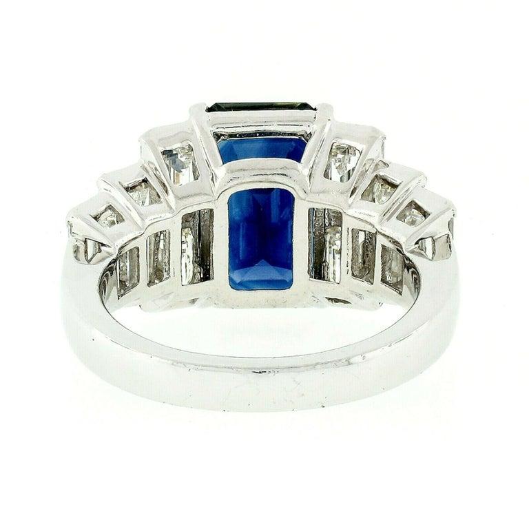 Platinum 9.07ctw GIA Emerald Cut No Heat Sapphire & Large Baguette Diamond Ring For Sale 3