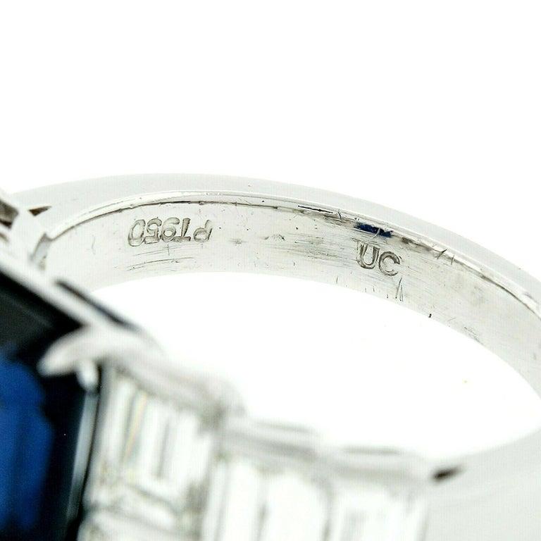 Platinum 9.07ctw GIA Emerald Cut No Heat Sapphire & Large Baguette Diamond Ring For Sale 4