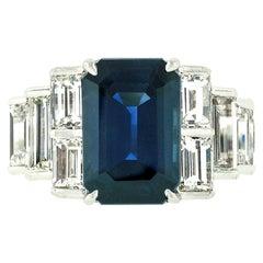 Platinum 9.07ctw GIA Emerald Cut No Heat Sapphire & Large Baguette Diamond Ring
