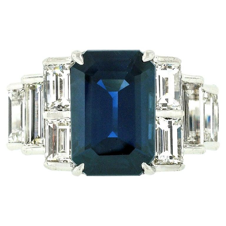 Platinum 9.07ctw GIA Emerald Cut No Heat Sapphire & Large Baguette Diamond Ring For Sale