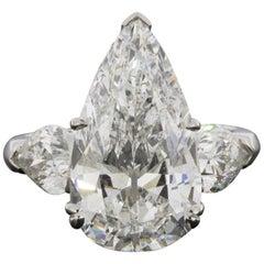 Platinum 9.18 Carat Pear Diamond Three-Stone Engagement Ring