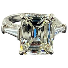 Platinum 9.25 Carat Emerald Cut Diamond Ring