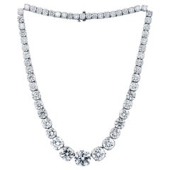 Platinum 95.00 Carat Diamond Tennis Necklace