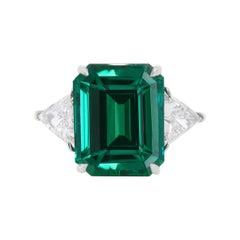 Platinum 9.63 Carat Emerald 2 Stone Ring