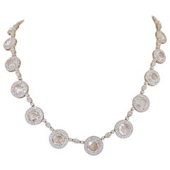 Platinum 9.99 Carat Rose Cut Diamond Necklace with Diamond Accents
