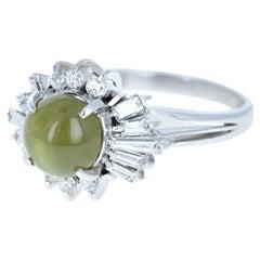 Platinum AAA Chrysoberyl Cats Eye and Diamond Ring 3.47 Carat