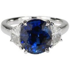 Platinum AGL Certified 5.17 Carat Ceylon Sapphire Ring