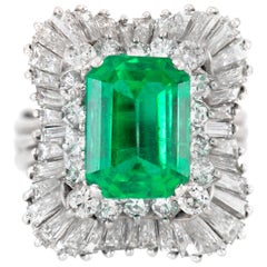Platinum AGL Colombian Emerald With Diamonds Ring