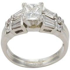 Platinum AIG Graded Princess Cut Diamond Engagement Ring and Band