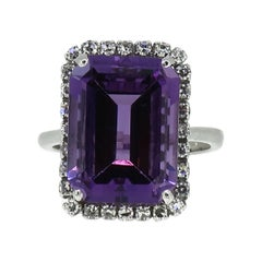 Platinum Amethyst and Diamond Cluster Ring