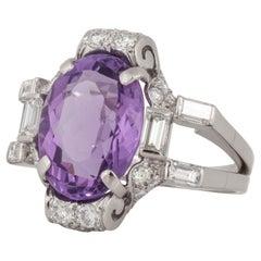 Platinum Amethyst Diamond Ring