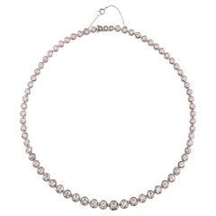 Platinum and 14 Carat Old European Cut Diamond Necklace