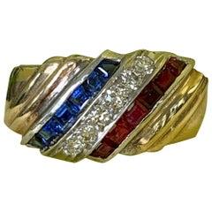 Platinum & 14 Karat Gold Red White & Blue Diamond, Ruby & Sapphire Ring Sz 7 1/2