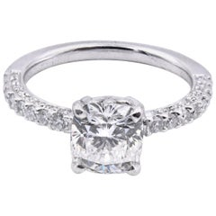 Platinum and 14 Karat White Gold Cushion Cut Diamond Ring GIA Certified