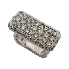 Platinum and 14 Karat White Gold Diamond 1.23 Carat Ring, Rock N Gold Creations