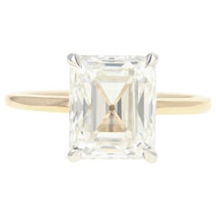 Platinum and 14 Karat Yellow Gold 4.30 Emerald Cut Diamond Engagement Ring